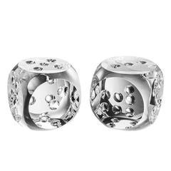 Dice Set of Two in Crystal Glass