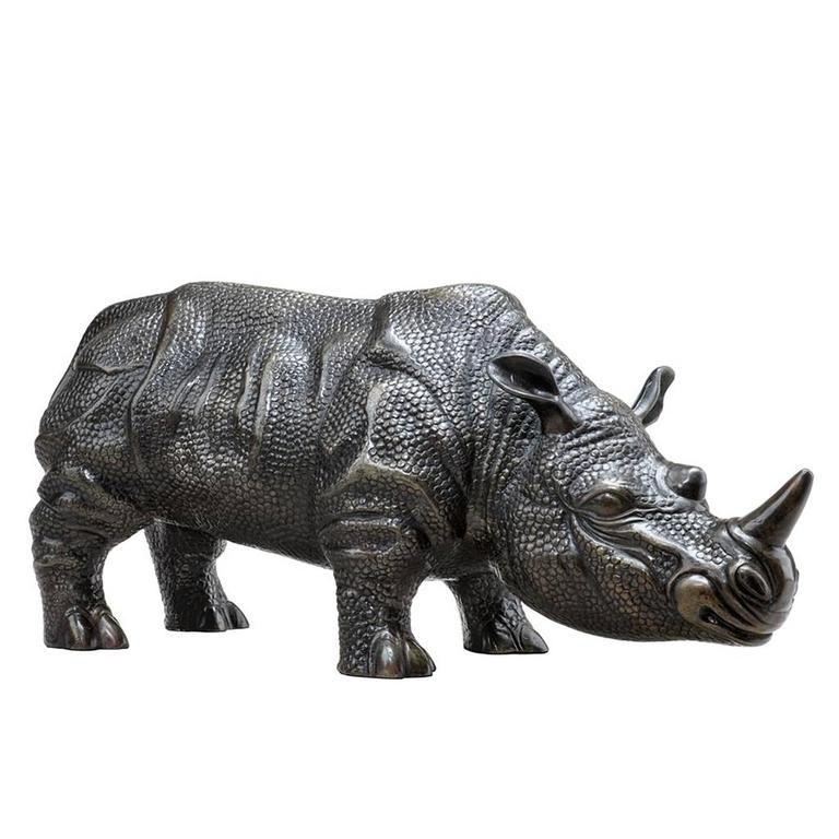 Indian Rhino Set of Two Sculptures in Bronze For Sale