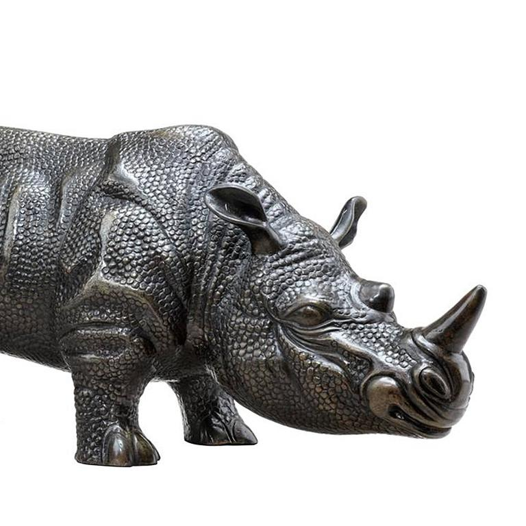 Contemporary Rhino Set of Two Sculptures in Bronze For Sale
