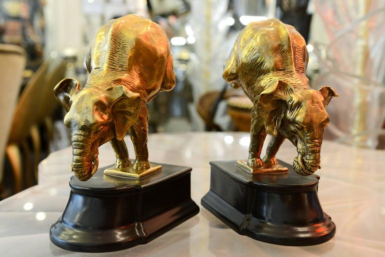 Dutch Bookends Acrobat Elephants Set of Two in Bronze For Sale