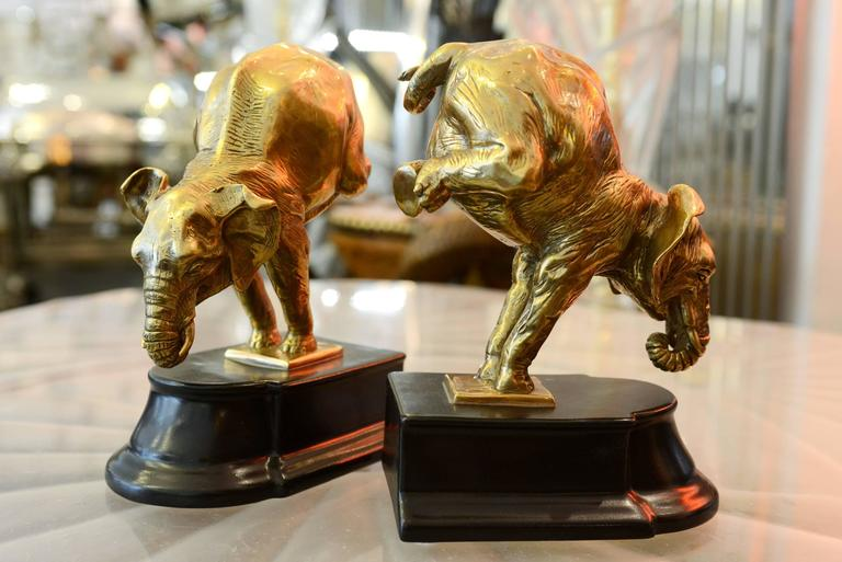 Blackened Bookends Acrobat Elephants Set of Two in Bronze For Sale