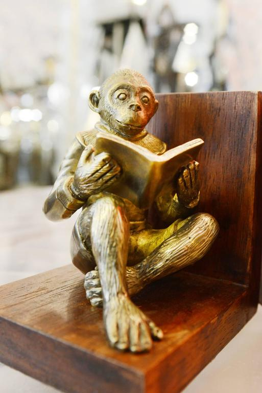 Contemporary Monkeys Readers Bookends Set of Two in Bronze For Sale