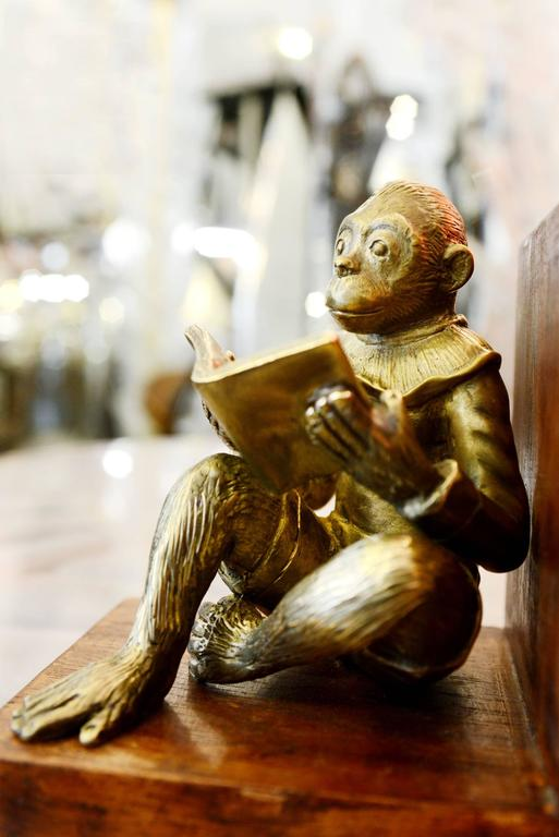 Monkeys Readers Bookends Set of Two in Bronze In Excellent Condition For Sale In Paris, FR