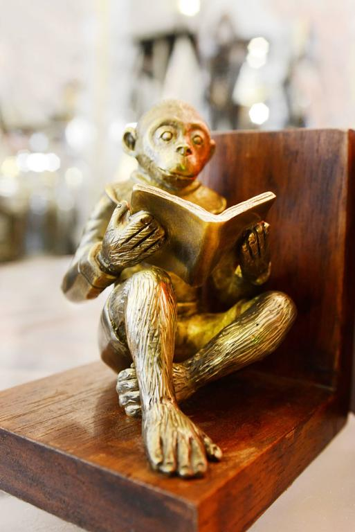 Monkeys Readers Bookends Set of Two in Bronze For Sale 1