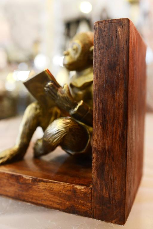 Monkeys Readers Bookends Set of Two in Bronze For Sale 2