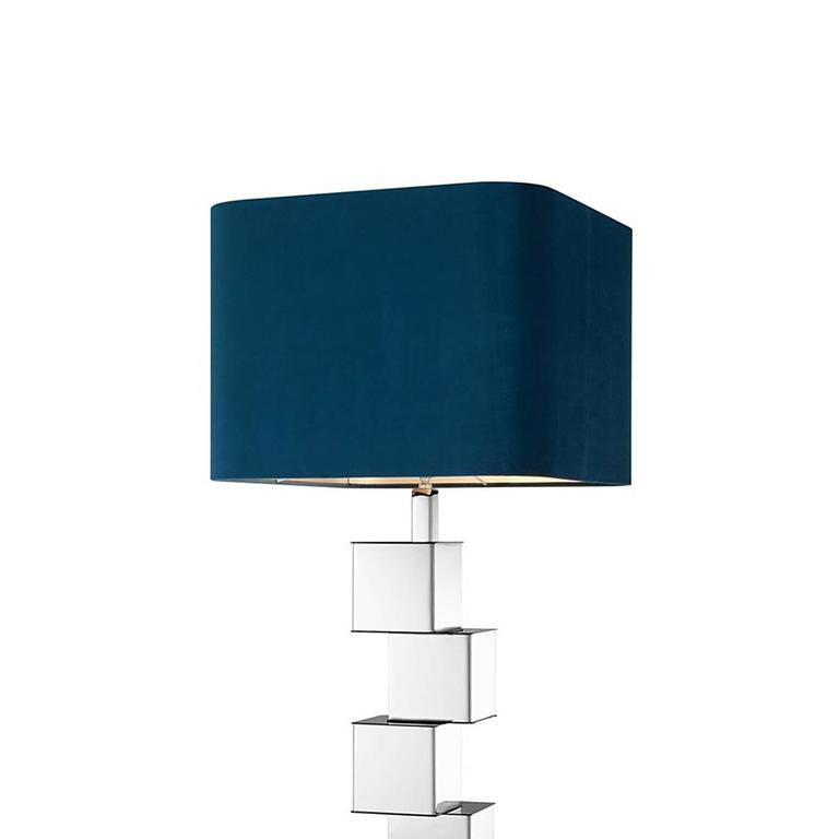 Table lamp marina in polished nickel  finish with blue velvet lampshade. Base: 15x15 cm. 1 bulb lamp holder  type E27, max 40 watt. Bulbs not included.