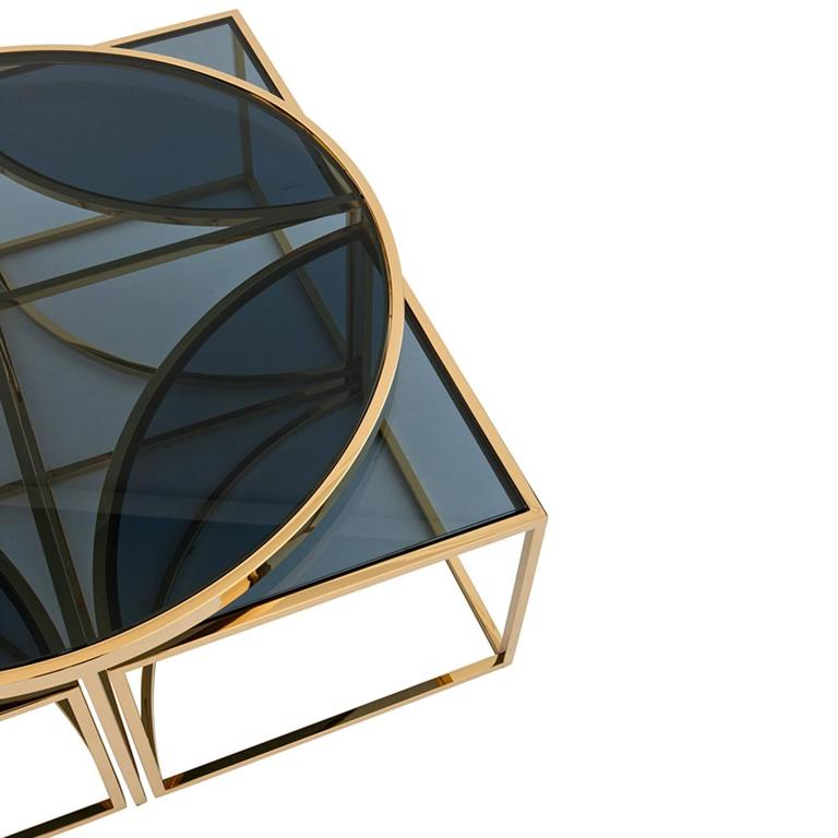Four Pieces Coffee Table In Gold Finish Or Polished