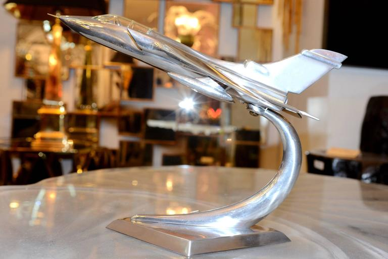 French Tornado Fighter Model in Polished Aluminium, 1974 For Sale