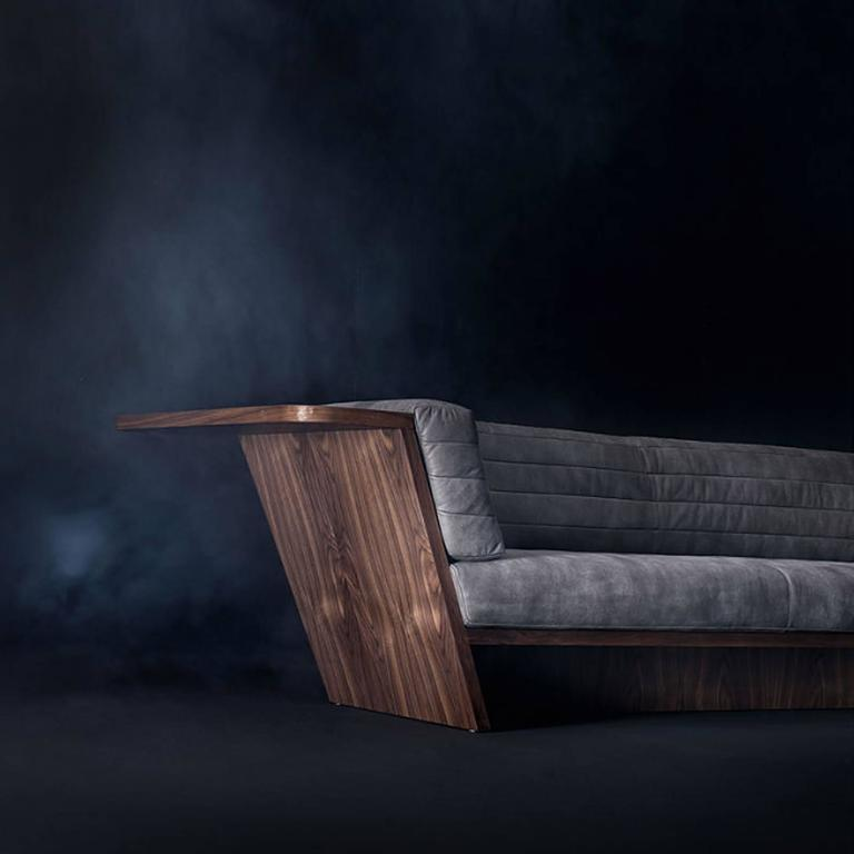 Italian Racing Sofa with Grey Genuine Leather and Solid Walnut Wood For Sale