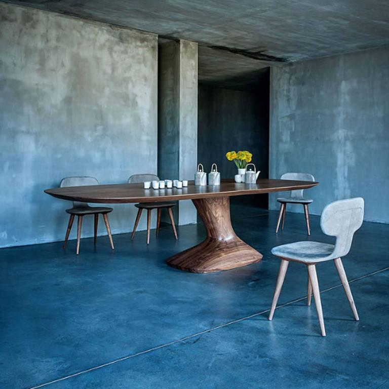 Contemporary Racing Dining Table in Solid Walnut For Sale
