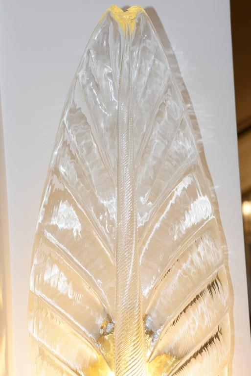 Wall light leaves set of two in pure handcrafted. Murano crystal glass. Art Deco style. Exceptional piece. L 24 x D 17.5 x H 67.5cm/piece. Unit price: 2900,00€ Set of two price: 5800,00€