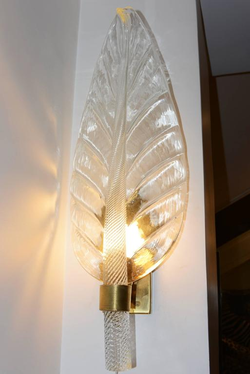 Leaves Wall Light Set of Two in Pure Murano Crystal Glass In Excellent Condition For Sale In Paris, FR