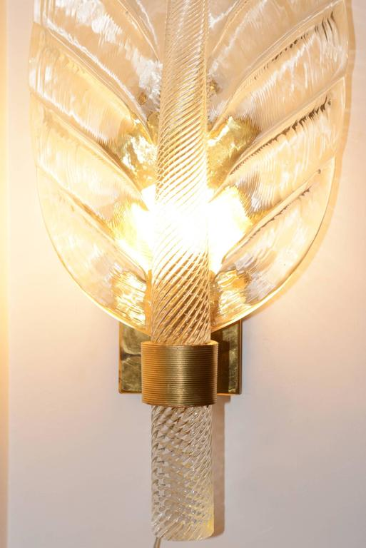 Italian Leaves Wall Light Set of Two in Pure Murano Crystal Glass For Sale