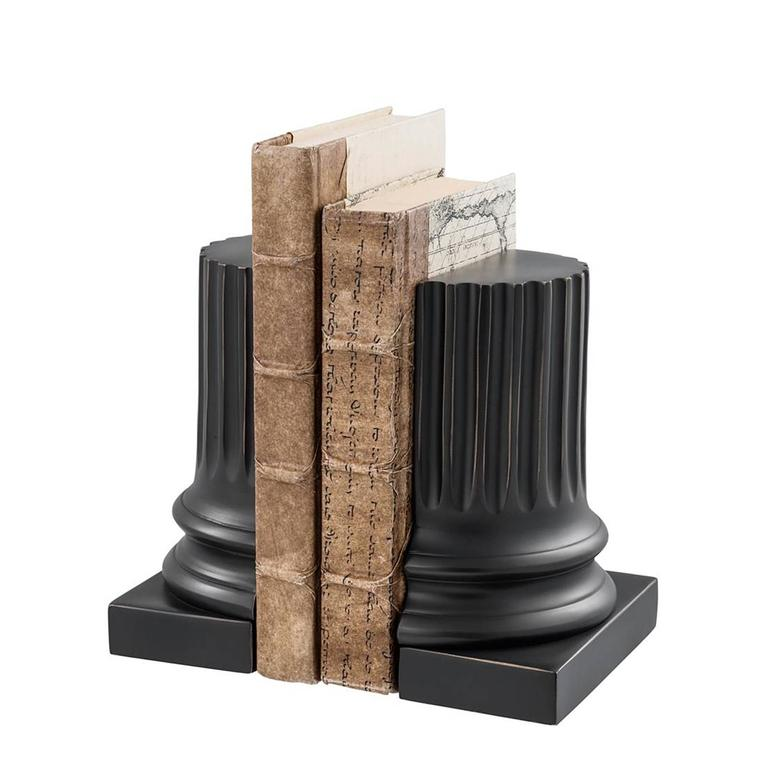 Set of two bookend black bronze in,  highlighted gunmetal bronze finish. Ideal to decorate your shelves.