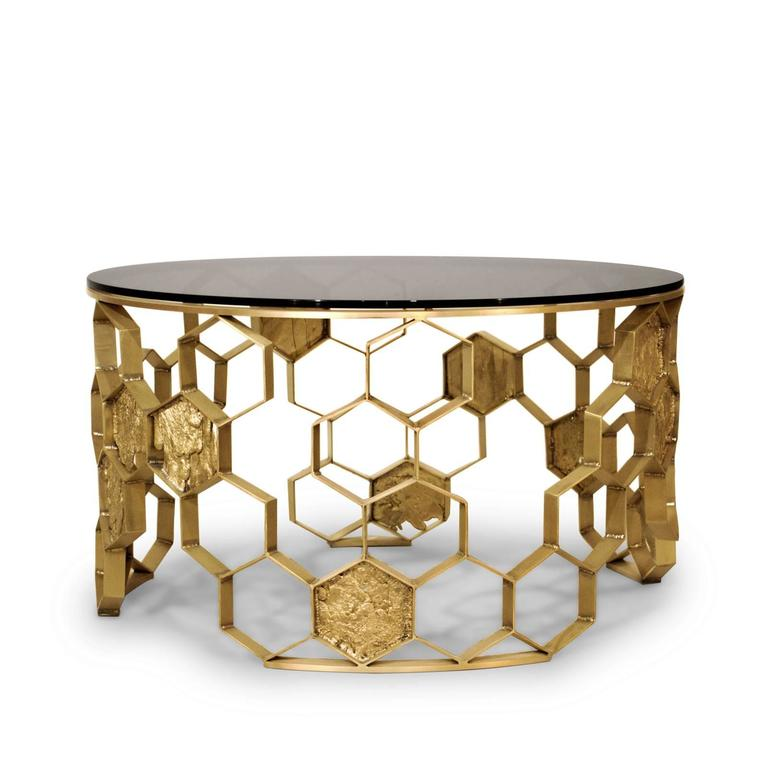 Coffee Table Bee Nest With Structure Handcrafted In Matte Brass Finish.  With A Smoked Glass