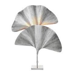 Ginko Biloba Table Lamp in Tarnished Silver Plated Finish