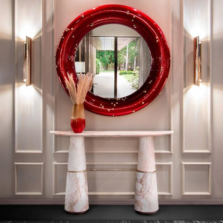 Red Mirror with Black and Red Glossy Varnished and Golded Snails For Sale 2