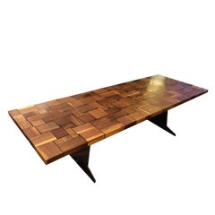 Square Wood Table Squared Blocks of Solid Wood Processed with Resin