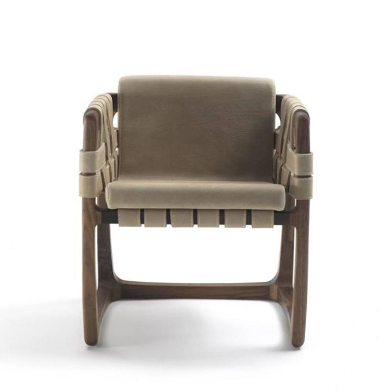 Hand-Crafted Webbing Chair Padded Seat in Nubuck Leather in solid walnut For Sale
