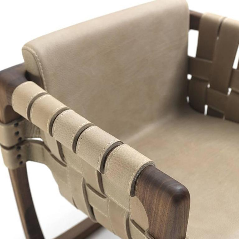 Contemporary Webbing Chair Padded Seat in Nubuck Leather in solid walnut For Sale