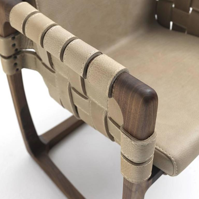 Webbing Chair Padded Seat in Nubuck Leather in solid walnut For Sale 1