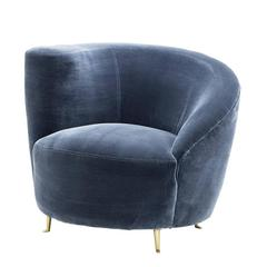 Lounge Faded Blue Armchair Velvet Upholstered