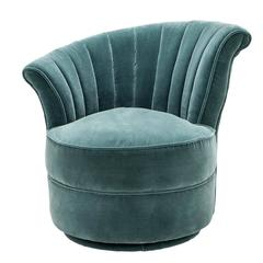 Wing Chair Left with Turquoise or Black Velvet Fabric