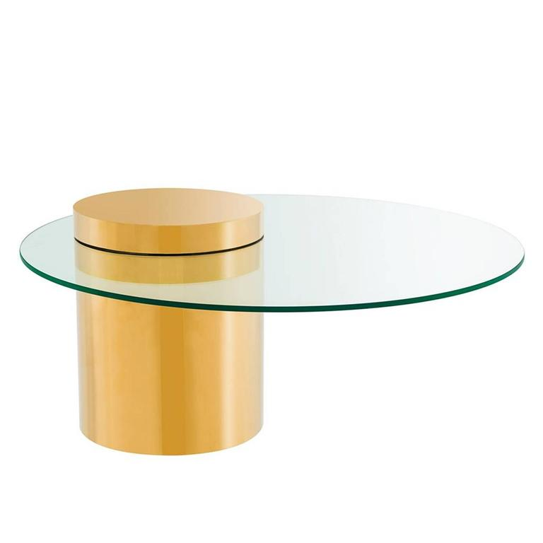 Balance Coffee Table In Gold Finish With Glass Top For Sale At 1stdibs