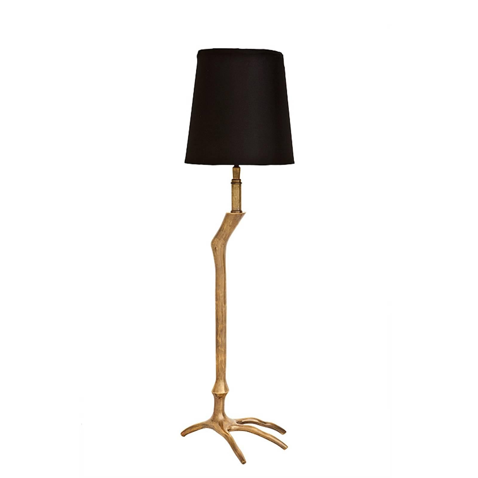 Ostrich Table Lamp in Vintage Brass or Nickel Finish