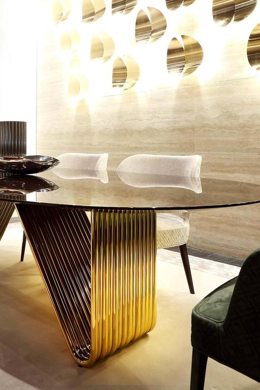 Stainless Steel Alina Dining Table with Lacquered Ebony Top For Sale