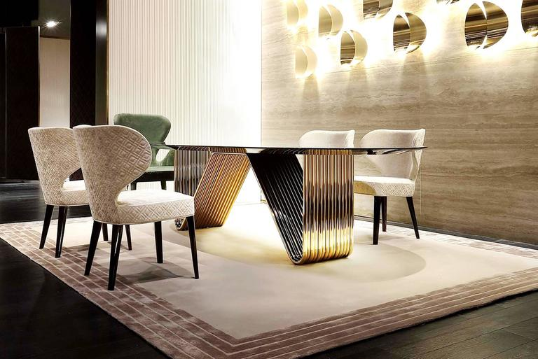 Italian Alina Dining Table with Lacquered Ebony Top For Sale