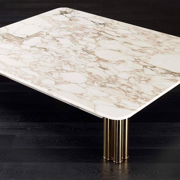 Blackened Ambra Coffee Table with Calacatta Oro Marble Top or Other Finishes For Sale