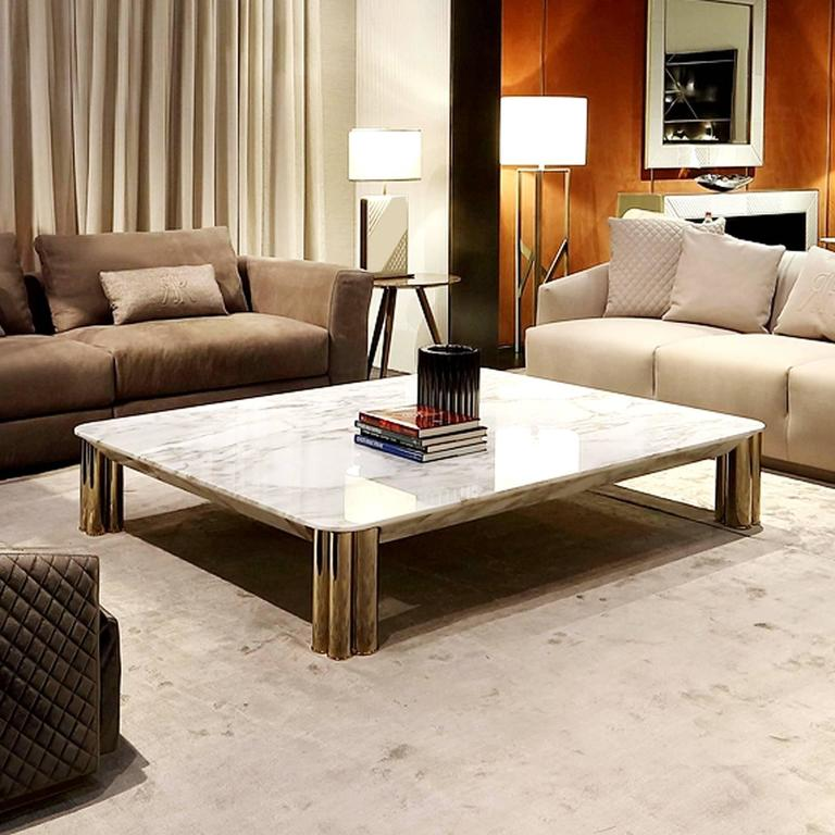 Bronze Ambra Coffee Table with Calacatta Oro Marble Top or Other Finishes For Sale