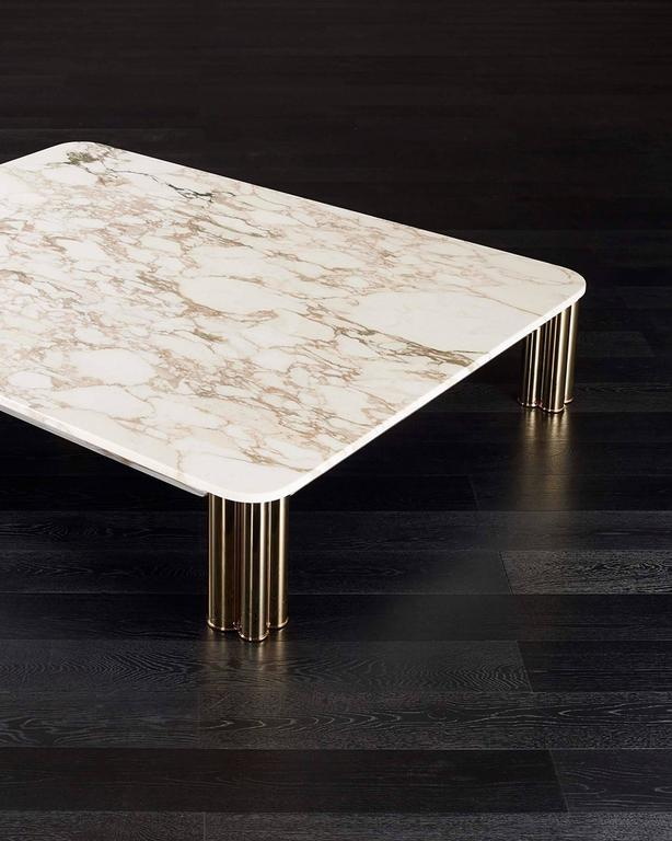 Contemporary Ambra Coffee Table with Calacatta Oro Marble Top or Other Finishes For Sale