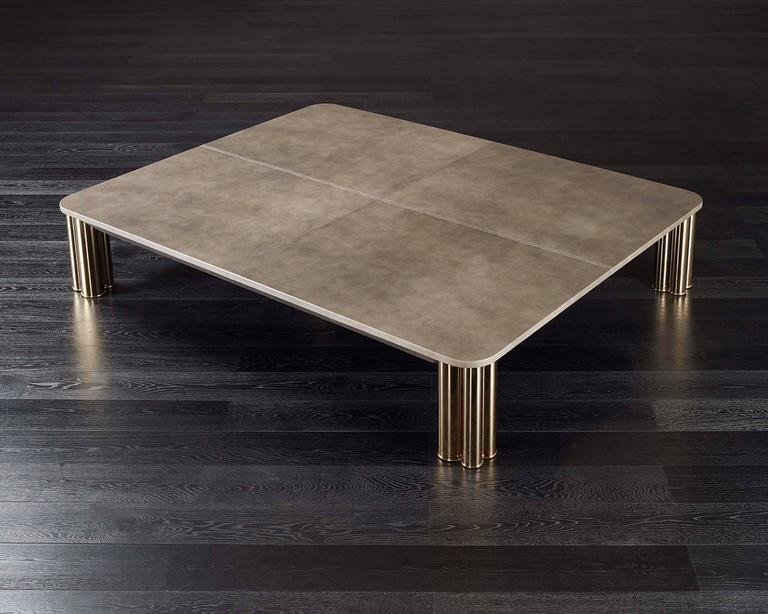 Ambra Coffee Table with Calacatta Oro Marble Top or Other Finishes For Sale 1