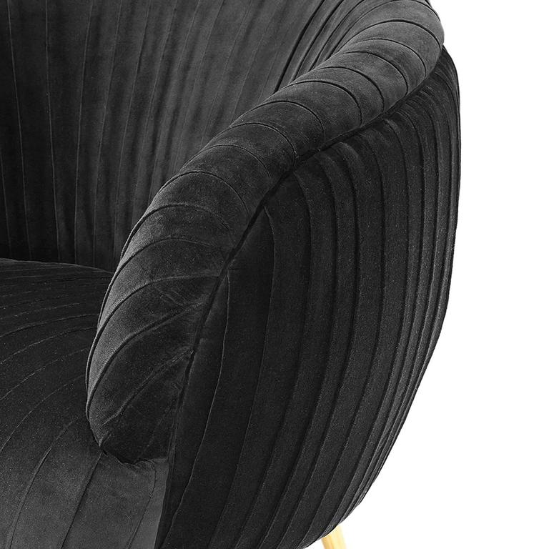 Diana Armchair in Blue Soft or Black Soft Velvet For Sale 1
