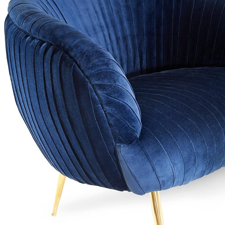 Hand-Crafted Diana Armchair in Blue Soft or Black Soft Velvet For Sale