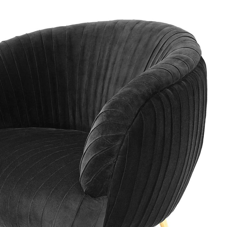 Contemporary Diana Armchair in Blue Soft or Black Soft Velvet For Sale