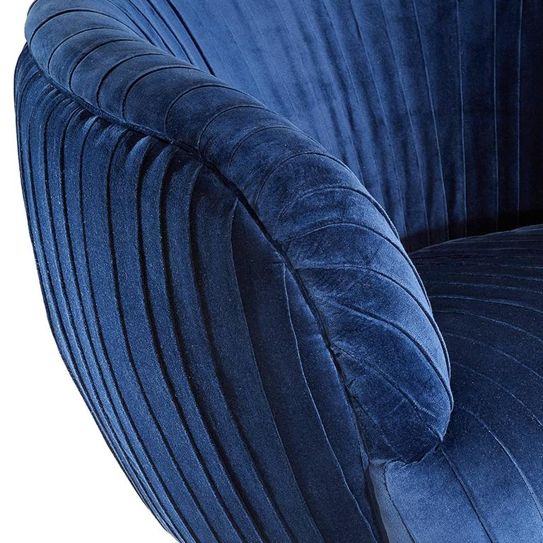 Italian Diana Armchair in Blue Soft or Black Soft Velvet For Sale