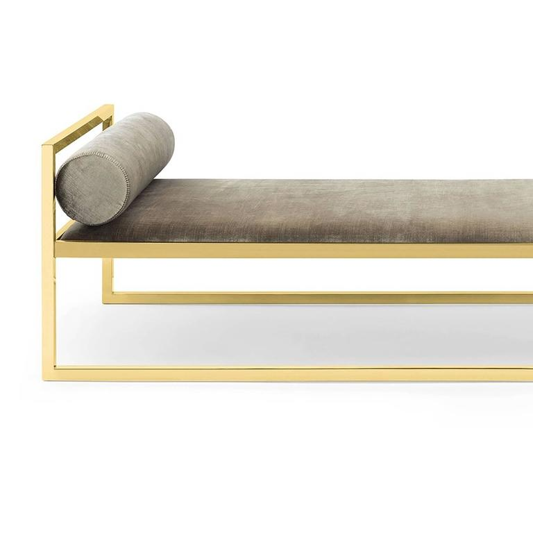 Daybed Grand Avenue with structure in gold finish stainless steel. Upholstered with grey velvet fabric, fire retardant treatment. Also available with polished stainless steel structure and available upholstered with genuine bitten leather