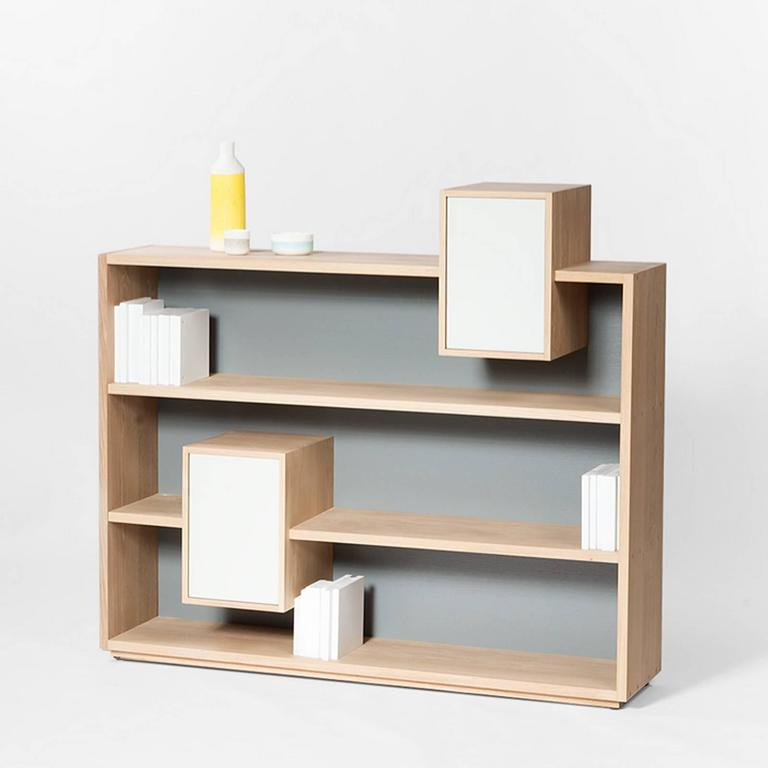Hand-Crafted Functional Shelve in Solid French Raw Oak For Sale
