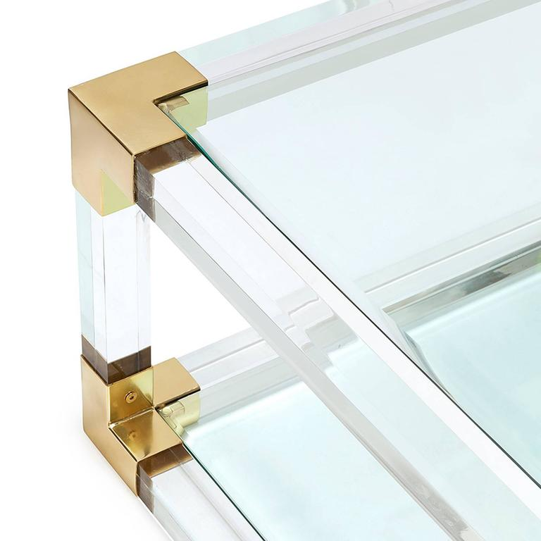 Highlight Coffee Table With Acrylic Glass And Gold Finish For Sale 2
