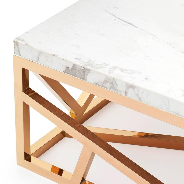 Raytona Coffee Table In Copper Chrome Finish And Marble