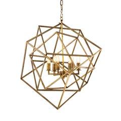 So Cube Chandelier in Vintage Brass or Nickel Finish