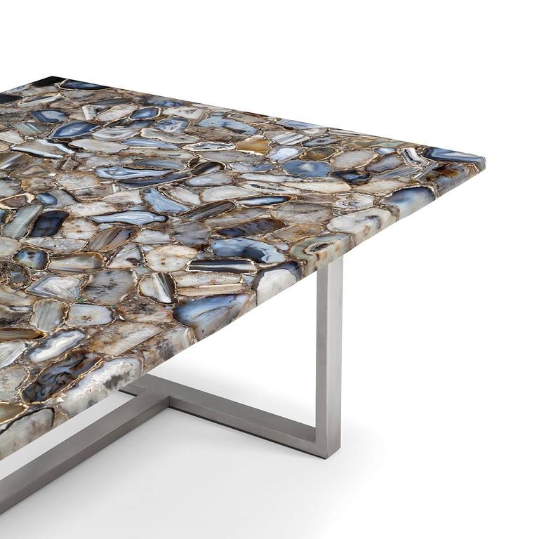 Agate Marble And Brass Round Cocktail Table At 1stdibs: Agate Stone Coffee Table For Sale At 1stdibs
