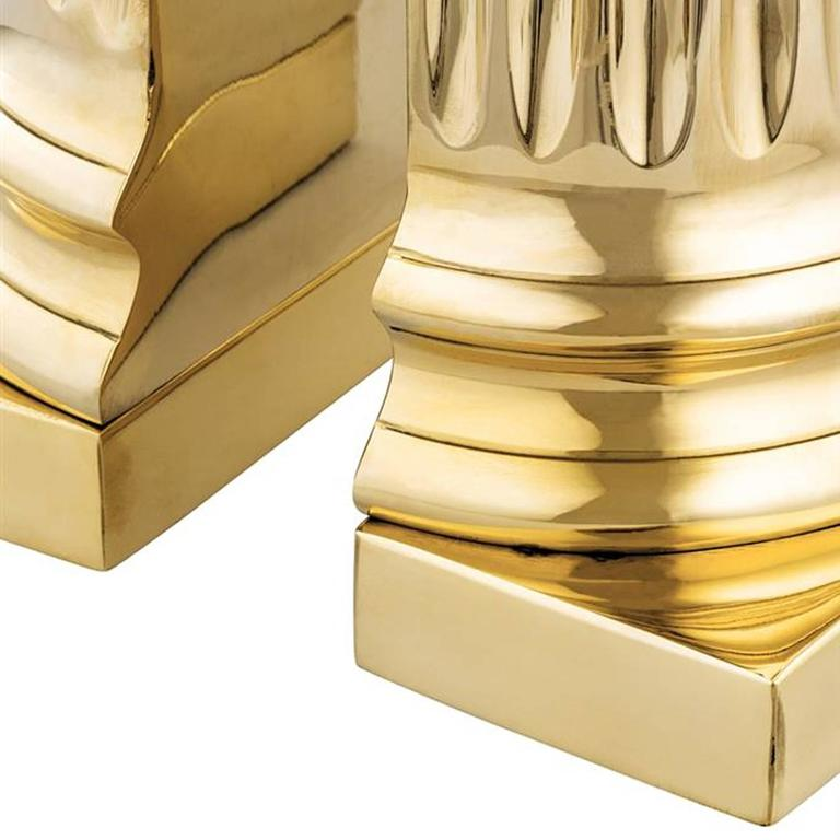 Contemporary Column Brass Bookend Set of Two in Polished Brass For Sale