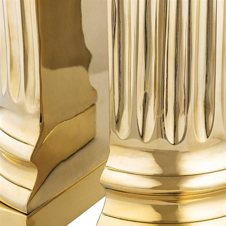 Column Brass Bookend Set of Two in Polished Brass In Excellent Condition For Sale In Paris, FR