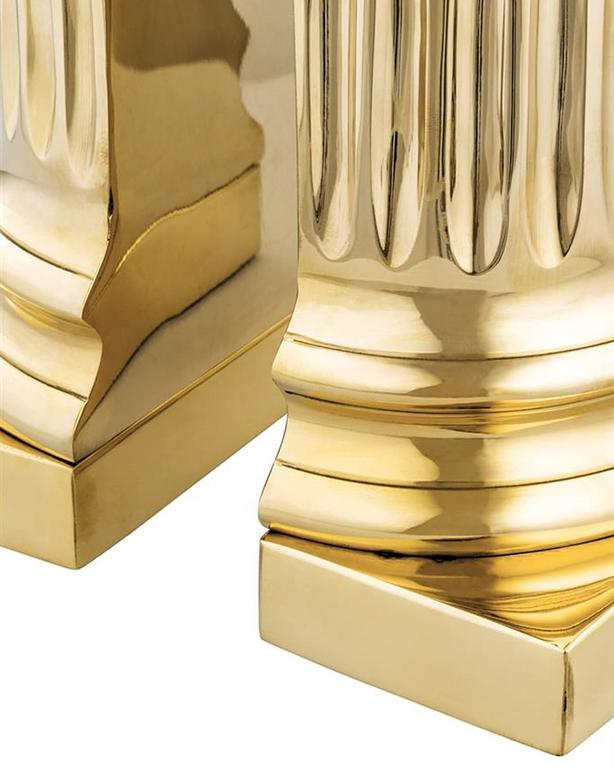 Column Brass Bookend Set of Two in Polished Brass For Sale 1