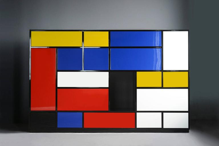 French Le Mondrian Sideboard High Lacquered with 16 Adjustable Drawers For Sale