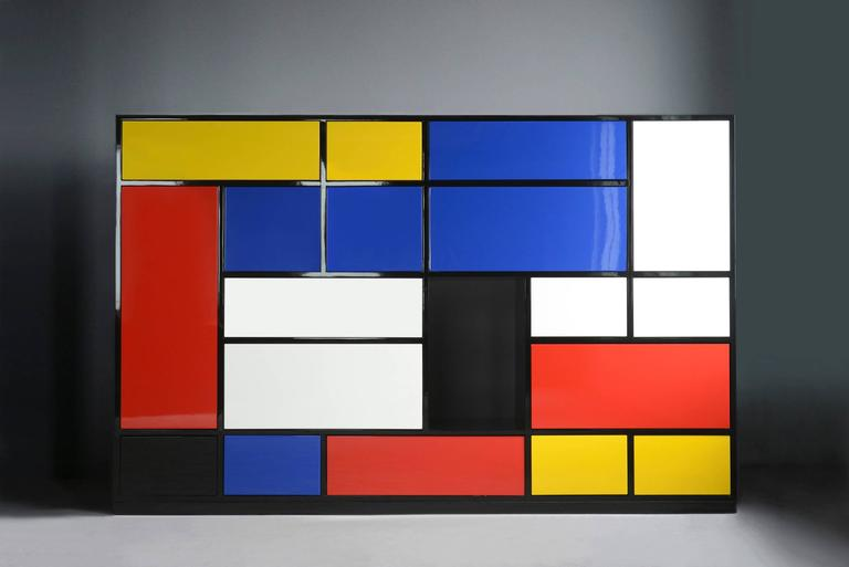 Le Mondrian Sideboard High Lacquered with 16 Adjustable Drawers In New Condition For Sale In Paris, FR